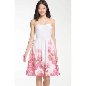 Monique Lhuillier Bridesmaids Chiffon floral Dress